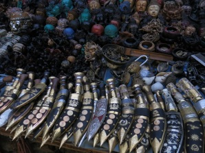 Traditional Nepali daggers or khukuri for sale.