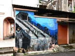 A mural depicts KKB's history as a tin mining town.