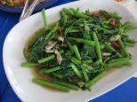 Water spinach stir-fried with garlic.